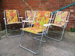 Pair Vintage 70's Floral Folding Chairs Beach Camping Garden Festival Retro