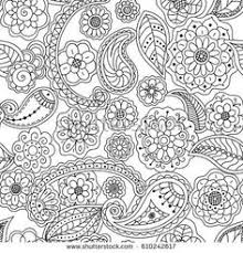 Seamless Pattern Of Floral Doodle Elements Vector Coloring Page Book For Adults