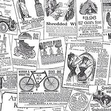 Black And White Vintage Newspaper Print Wallpaper