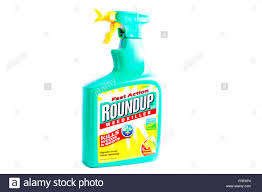 Roundup Weedkiller Spray Bottle Kills Weeds Product Logo Brand Cutout Cut Out White Background Isolated UK England GB