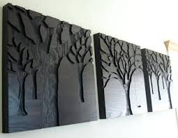 Rustic Cabin Wall Decor Art Ideas Design Hand Crafted Wood Carving Sculptured Black Coloured