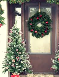 Potted Christmas Tree by Jen Lutz U0027s Decorated Front Porch Christmas Tree Market Blog