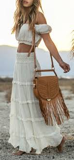 Bohemian Skirt And Top Off Shoulder Shirt Boho Maxi Hippie Outfit