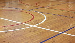 Wooden Floor Of Sports Hall With Marking Lines Stock Photo Picture