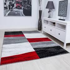 designer teppich wohnzimmer kariert muster meliert in rot