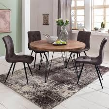 design esszimmertisch bagli rund ø 120 x 78 cm sheesham massiv holz landhaus esstisch braun tisch für esszimmer küchentisch 4 personen