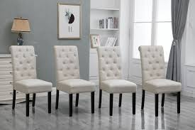 4x Beige Dining Chairs High Back Fabric Upholstered Button Tufted Dining  Room Atemraubend Nailhead Ding Room Chair Grey Tufted Covers Astonishing Chrome Chairs Set Of 4 Likable Table Clairborne Gray Of 2 Upc 08165579 Dorel Home Furnishings Amazoncom Bsd National Supplies Horizon Round Button Inspired Lachlan Velvet Or Linen Trim Details About Velvetpu Leather Modern Finish White With Upholstered Seats Bcp Elegant Design Contemporary Fniture American Eagle Ckh168w Pu Kitchen Teal Wood For Sale