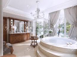 luxus badezimmer im klassischen stil badezimmer mit dusche und badezimmermöbel 3d übertragen