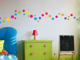 DecorationsBeautiful Polka Dot Wall Decals For Kids Rooms With Green Drawer And Small Red