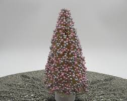 Pink Silver Beaded Bottle Brush Tree