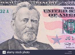 US Fifty Dollar Bill Close Up Portrait Of Ulysses S Grant