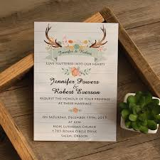 Boho Antler Flower Rustic Wedding Invites EWI415