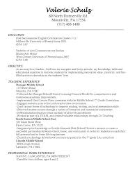 Sample Of Resume Teacher Resumes Objective Examples Art Science Statement In For En