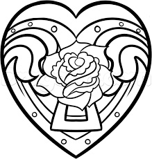 Draw A Heart And Rose