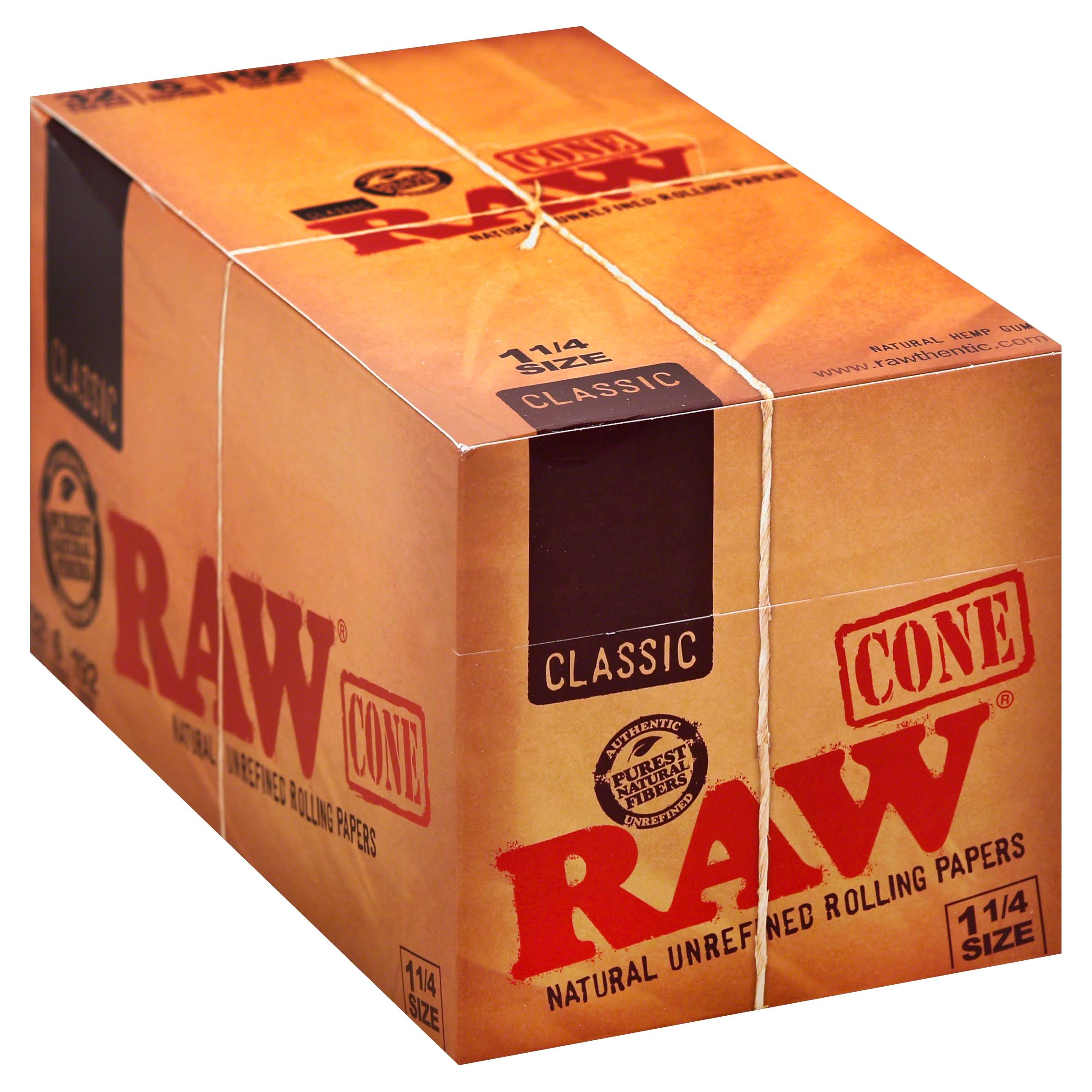 Raw Cone Rolling Papers, Natural Unrefined, Classic, 1-1/4 Size - 32 packs