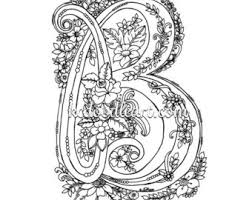 Instant Digital Download Adult Coloring Page Letter C With