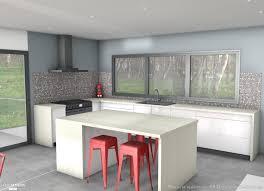 realisation cuisine réalisation 3d d une cuisine avec un ilot central plans