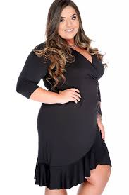 black long sleeve wrap around plus size casual dress