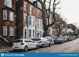 100 Houses In Hampstead Row Of Typical British Terraced London