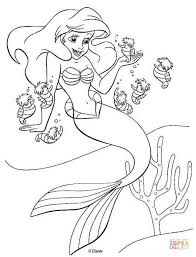 Sumptuous Design Mermaid Coloring Page Ariel And Seahorses