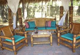 Attractive Rustic Living Room Ideas With Bamboo Decoration Set