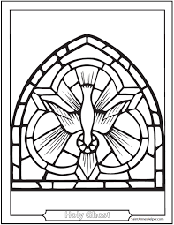 Pentecost Coloring Page Stained Glass Holy Ghost Dove Picture