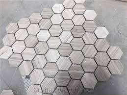 white wood marble chenille mosaic tiles hexagonal 1 inch