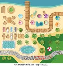 Swimming Pool Hotel Resort Vector Layout Template