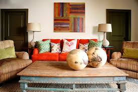 Modern Coffee Table Decor Living Room Transitional With Colorful Pillows Red Couch Striped Armchairs