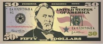 A Realistic Printable Fifty Dollar Bill With The Image Of Ulysses S Grant It Can