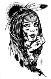 Free Coloring Page Adult Native Indian American Woman Drawing