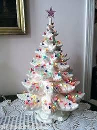 White Ceramic Tree Bulbs With Lights Light Green Christmas