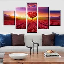 rot herz baum sonnenaufgang meer blume landschaft leinwand wohnzimmer schlafzimmer wand künstler dekoration moderne nordic poster 5 panel