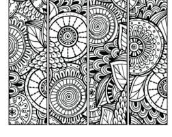 Printable Pattern Coloring Page Bookmarks PDF JPG Instant Download Book