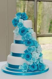 Turquoise Rose Cascade Wedding Cake by SugarMummyCupcakes CakesDecor cake decorating website I DO Pinterest