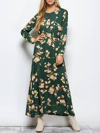 green m floral print maxi boho dress with long sleeve rosegal