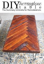 remodelaholic diy wood herringbone coffee table with hairpin legs