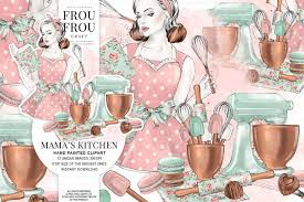 Kitchen Clipart Bakery Clip Art Cooking Graphics Baking Utensils Retro Restaurant Fashion Illustration Chocolate Macaroons Mint Pink Copper