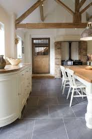 Country Style Kitchen With Slate Flooring