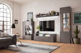 set one by musterring wohnwand 4er set grau material holz mdf eiche schiefer tacoma
