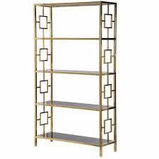 Open Bookcase by Terano Gold Frame Black Mirrored Glass Open Bookcase