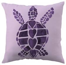 Turtle Love Purple Throw Pillow Beach Style Decorative Pillows