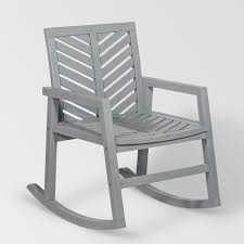 Manor Park Outdoor Patio Rocking Chair With Chevron Design - Brown