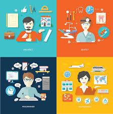 Travel Agent Architect Dentist And Programmer Vector Art Illustration