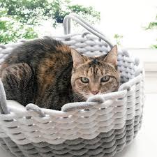 navaris katzenkorb aus stoff mit kissen