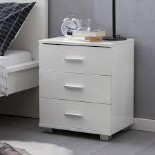 wohnling design nachtkonsole wl5 865 weiß 45x54x34cm holz nachttisch hochglanz modernes nachtkästchen mit aufbewahrung kleine schlafzimmer kommode