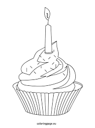 Cupcake with colorful sprinkles and candle cupcake coloring page