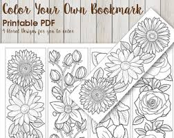 Downloadable PDF Bookmark Coloring With Flower Design Printable Bookmarks Adult Daises Roses Florals