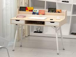 vente unique bureau bureau larcos 2 tiroirs 1 niche mdf chêne blanc
