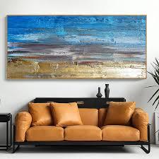 wand dekor malerei blau acryl leinwand bilder für wohnzimmer abstrakte wand kunst bemalte leinwand öl gemälde horizontale